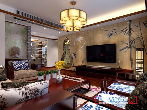 镂空的葫芦造型,平安、吉祥;竹木地板上墙,再在葫芦里插几支从老家带来的竹杆,在墙上烙印出竹枝竹叶,