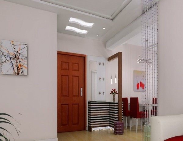 玄关餐厅处现代家具、浪漫玫瑰花的点缀、灯光渲染的作用下整个空间品质而格调、自然而有韵味