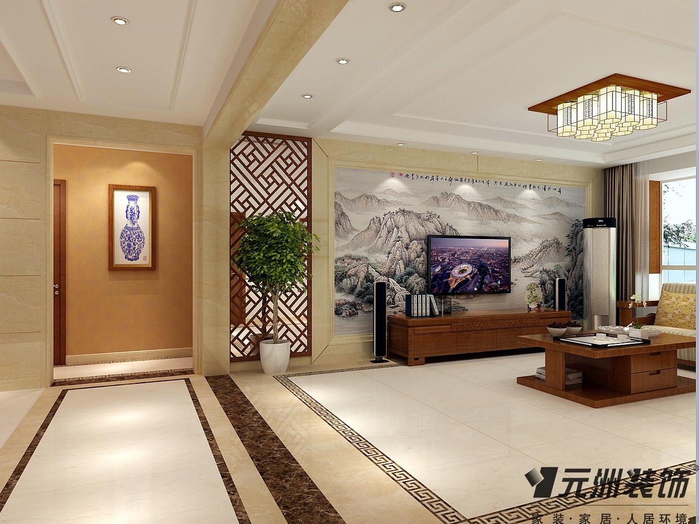 新中式风格 元洲装饰 国瑞城装修 客厅图片来自石家庄-小程在瑞城168平米新中式风格效果图的分享