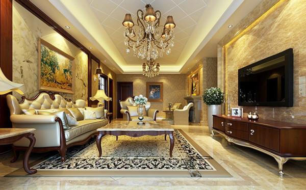 客厅以石材和深色木材为主装饰,显示出主人的尊贵感与空间的稳重感。
