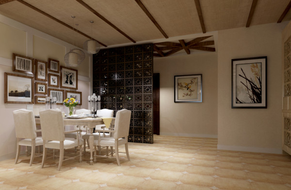 棕榈泉两居室户型餐厅效果图展示