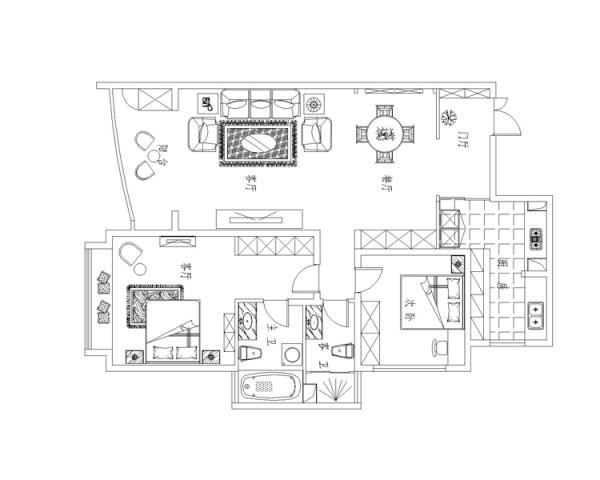 棕榈泉两居室户型平面布置图展示