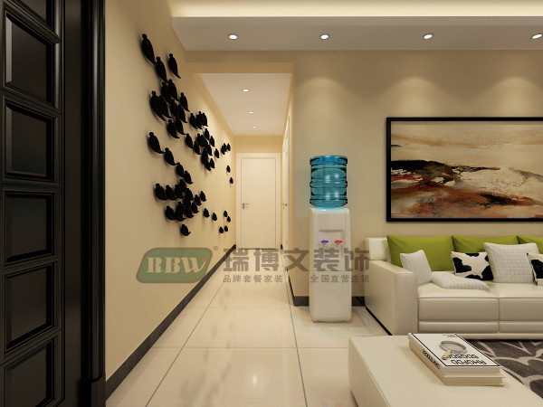 走廊用平吊顶,不用过多的造型装饰,体现走廊的简朴