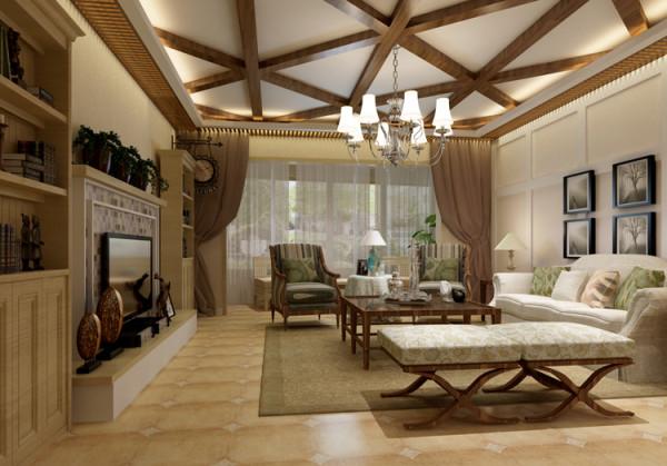 棕榈泉两居室户型客厅效果图展示