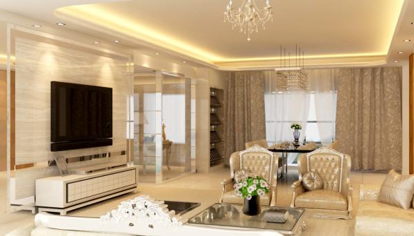 设计理念:客厅采用了石材、镜面不锈钢材质还有家私的搭配及最重要的色彩搭配来衬托出简欧温馨的风格。 设计亮点:客厅空间与书房空间一个整体,视觉感非常好。