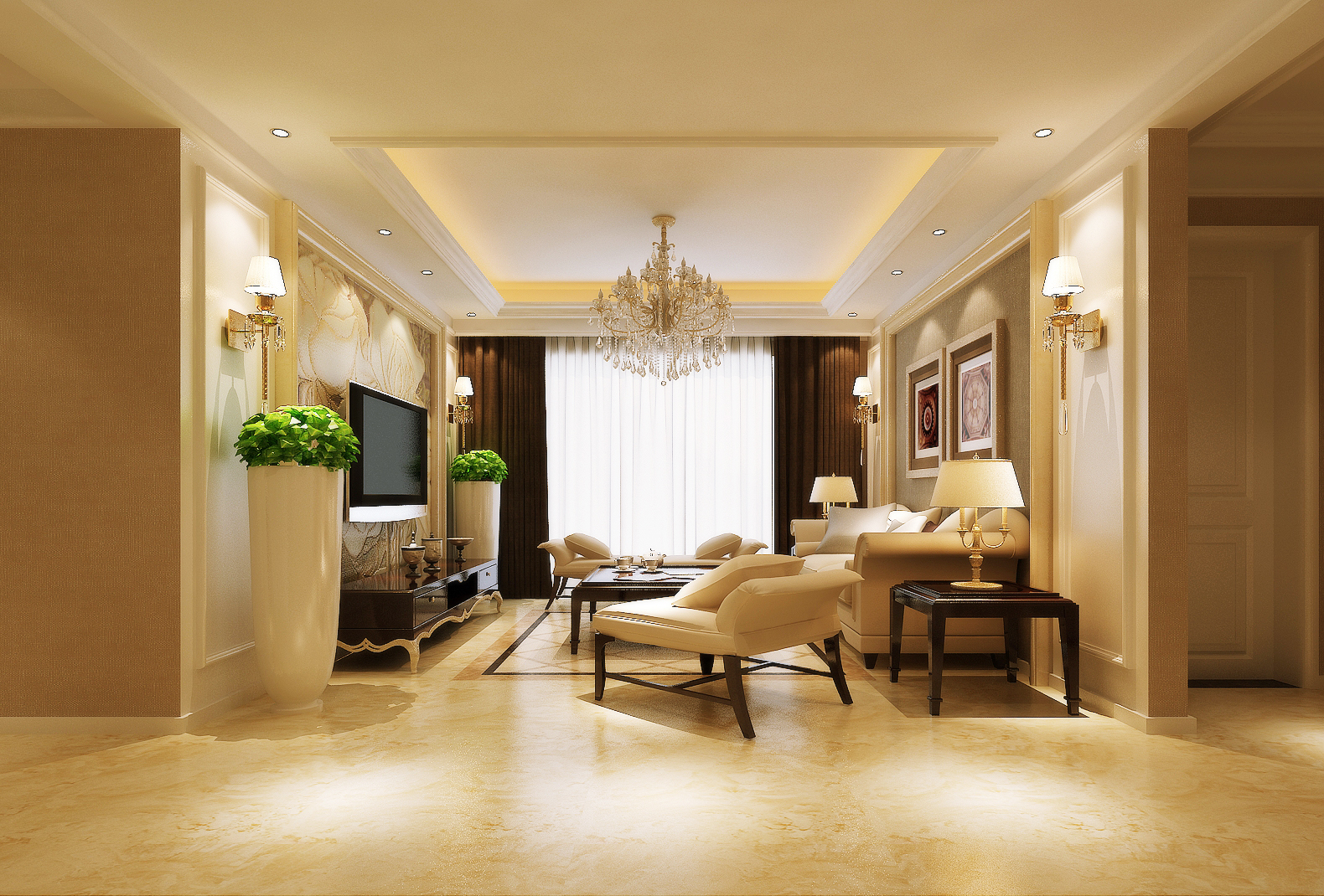 锦艺国际 三居室 简约主义 效果图 设计 客厅图片来自文金春在锦艺国际华都三居室简约风格的分享