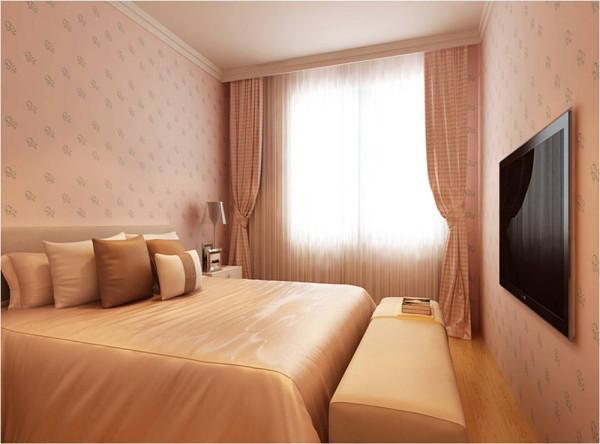 设计理念:主卧室采用暖色的色彩格调让人感觉淡雅、温馨及高贵的感觉。 设计亮点:主卧墙面暖色调壁纸,床头背景墙采用大理石及大理石线条,简单中透露出高贵。