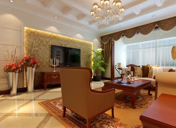 客厅电视背景墙用大理石与石膏线、壁纸的紧密结合,体现了室内的空间质感。罗马窗帘的点缀使欧洲风韵气息浓郁,颜色均较清雅,更能体现出起居室整体豪华、温馨。