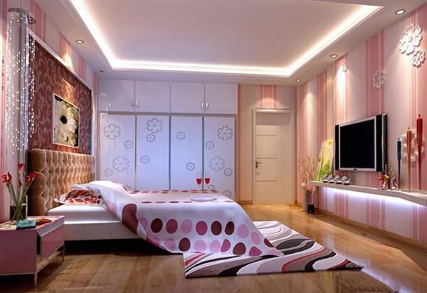 卧室要年青化,粉色也比较喜庆 亮点:采用粉色壁纸面且还有立体雕刻的花儿,既年青又有活力,跟卧室的衣柜有个呼应