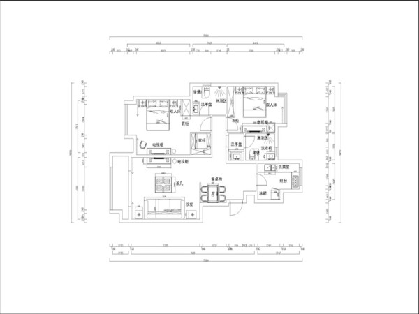 本方案是金隅悦城型图,2室2厅2卫1厨,其面积为120平米。入户门逆时针方向分别为玄关、厨房、次卫生间、次卧室、主卫生间、主卧室、衣帽间、阳台、起居室和餐厅。该户型面积较大,采光还算可以,墙体没有什么拆改。