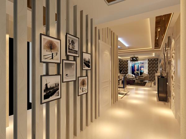 卫生间墙面采用竖条白混油,无形中显的房子整体会长高,门厅吊顶整体与餐厅吊顶连为一体