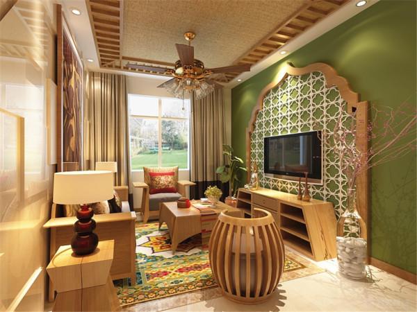 该户型龙湾城两室两厅一厨一卫81㎡。设计的主要风格是东南亚风格。