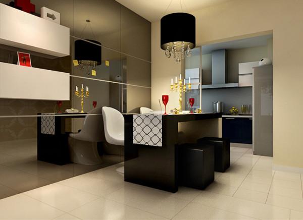 餐厅餐厅简单大气又不失浪漫餐厅最大的亮点是玻璃茶色镜面的背景墙,把餐厅餐桌与厨房设计成一体式吧台,可以让主人在用餐的环境中增加了浪漫的气息,舒畅、自然。