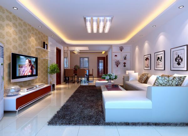 亮点:方案为现代风格,室内简洁、大方、得体的初步感受,方形的吊灯与茶几上下呼应,不同的吊顶,展现出不同的空间,餐桌前再配上一面银镜,整个空间看起来宽敞、明亮。
