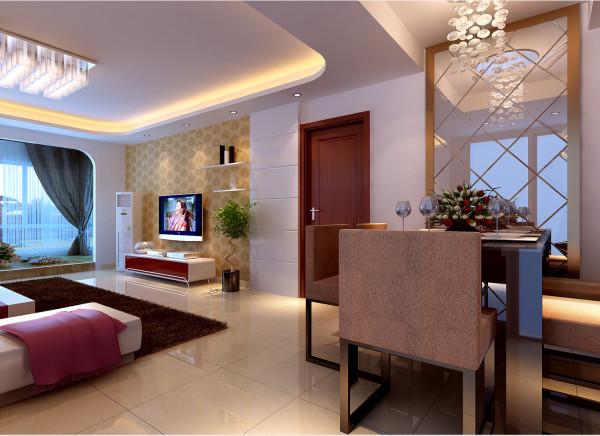 方案为现代风格,室内简洁、大方、得体的初步感受,方形的吊灯与茶几上下呼应,不同的吊顶,展现出不同的空间,餐桌前再配上一面银镜,整个空间看起来宽敞、明亮。
