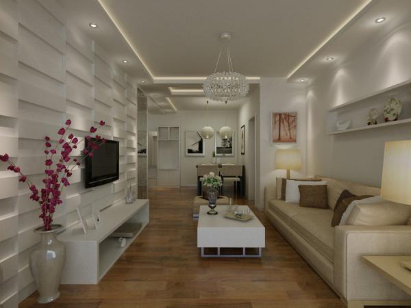 客厅杏色的时尚布艺沙发尽显质朴的生活情调,白色的毛绒地毯增加几分温馨的生活色彩,小巧精致的茶几与时尚的休闲椅,打造出一个时尚的生活空间。