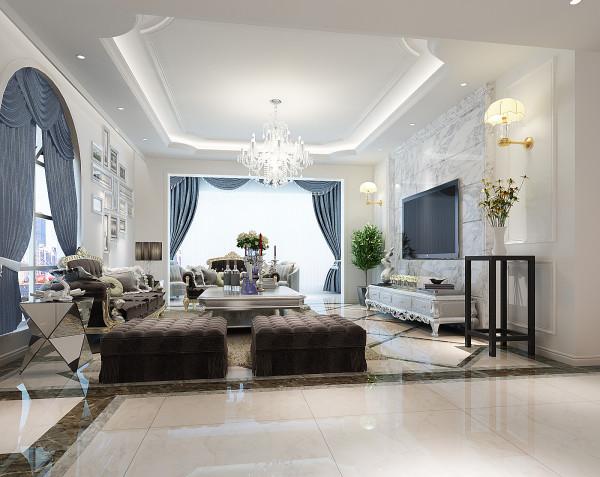 整个空间以简欧风格中常用的石膏线、大理石作为基本设计元素,客厅地面采用不同颜色地砖加工、斜铺,显得整个空间简洁而又明亮,餐厅以就餐区跟酒吧区组成,