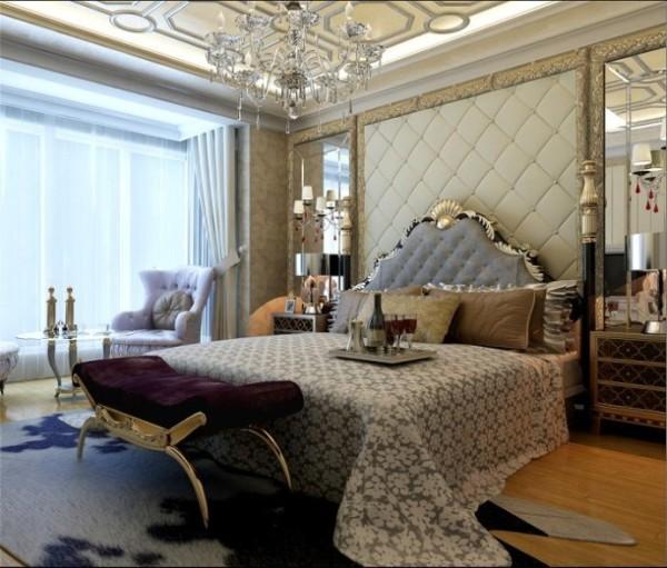 主卧室:唯美清新的背景搭配简约美式 。设计理念:卧室采用了经典石膏线条,简单石膏线条搭配灰色墙漆做床头背景,既彰显业主不俗的品味又加强了温馨舒适的居住感受