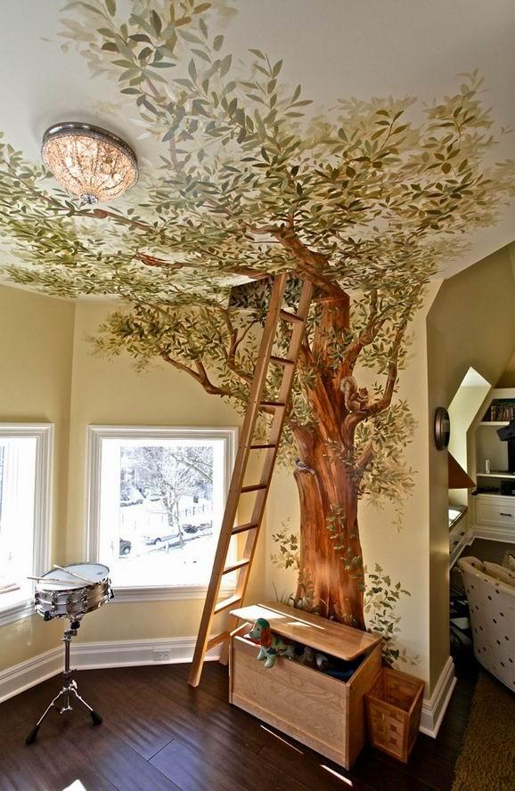 童年时我们都幻想过拥有一个树屋,渴望与大自然里可爱的昆虫动物亲密接触,手绘与木梯的结合让卧室变成原始森林,去一窥大自然的神秘。