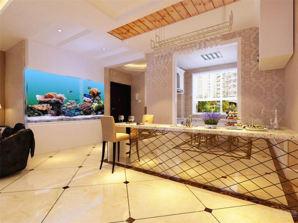 餐厅吊顶也为回字形发光灯池吊顶,背景墙则为简单的欧式石膏线圈边的造型为主,中间搭配四副欧式挂画加以装饰;通顶的鱼缸为整个空间增添了一丝活泼的气氛;