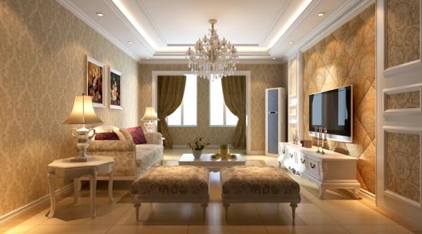 设计理念:现代欧式装修风格,多以营造柔美意境的空间,常以浅色为主深色为辅。墙面由精致的墙纸、艺术漆和欧陆风格的窗帘、帷幔烘托氛围。亮点:欧式壁纸金色相框线,仿古砖理石收边的完美结合。