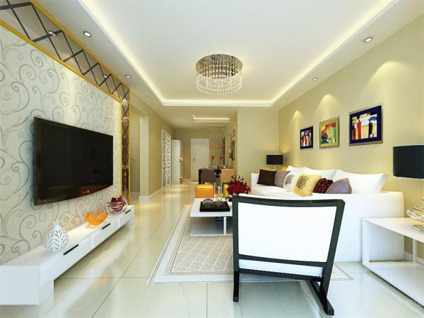 该户型面积较为适中,客餐厅区域选择了米黄色的800*800的大理石地面,既容易清洗,又比较耐磨。沙发选择了比较干净的白色布艺沙发,茶几和电视柜的材质都选择了白色乳胶漆。