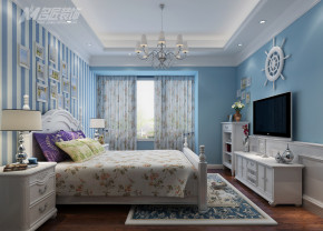 地中海 三居 浪漫 自然 温馨 卧室图片来自名匠装饰自贡分公司在海天一色浪漫地中海的分享
