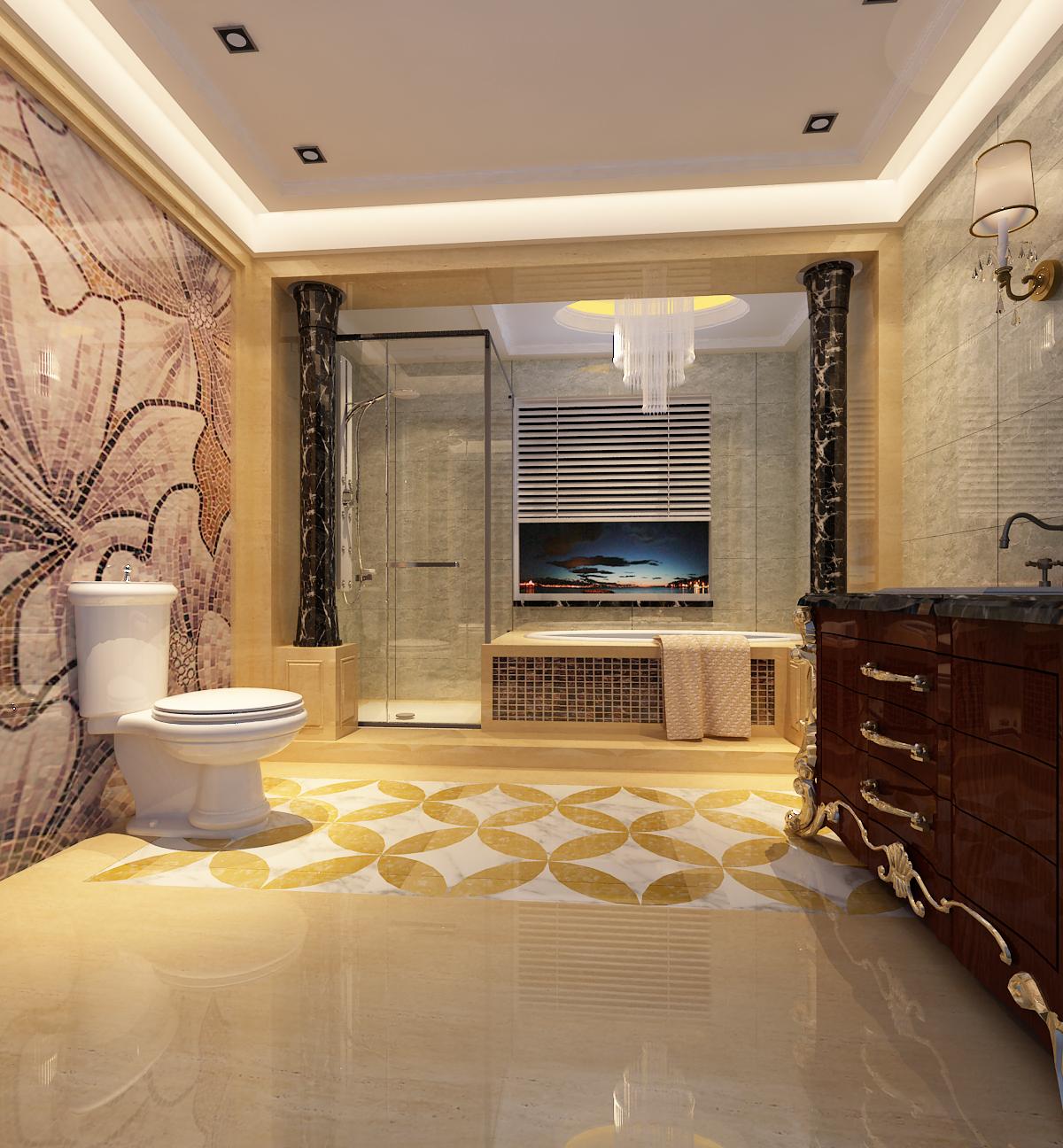别墅 豪华 自建房 欧式 卫生间图片来自昆明九创装饰温舒德在超级豪华大别墅,有钱就是任性的分享