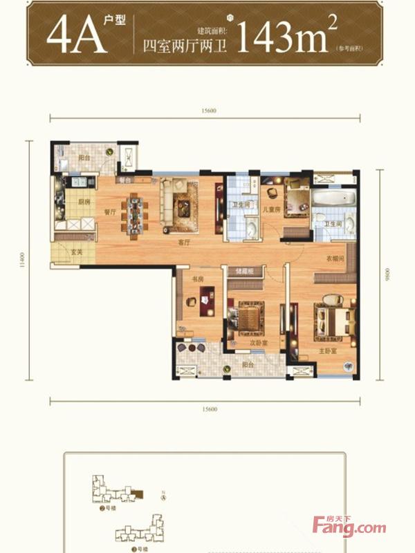 现代 四居 白领 收纳 旧房改造 80后 小资 户型图图片来自名仕装饰-小飞在万科城花璟苑 四室 143平米的分享