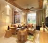 沙发背景墙设计大理石铺贴,使空间显得更加宽阔。木制的吊顶和复古的风扇灯别有一番风味。