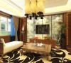 复古感的台灯,茶几,沙发给人无限回味。电视背景墙跟沙发背景墙一样。