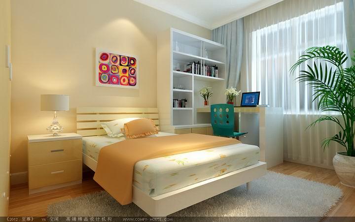 简约 三居 白领 80后 小资 卧室图片来自天津实创装饰集团l在大都会90平现代简约精致大气的分享