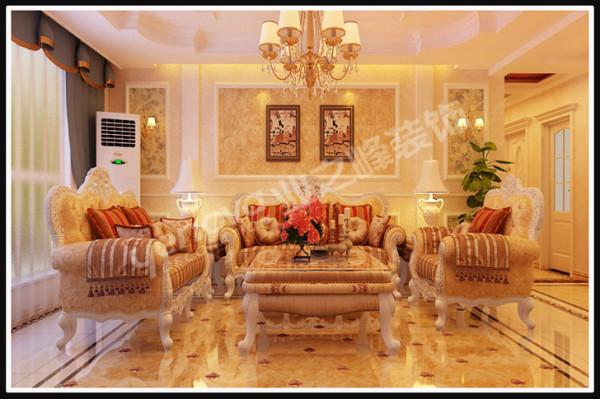 欧式风格沙发背景墙,通过完美的线条搭配精美的壁纸,与大气的家具、地拼相结合,带给人无限的舒适与享受。