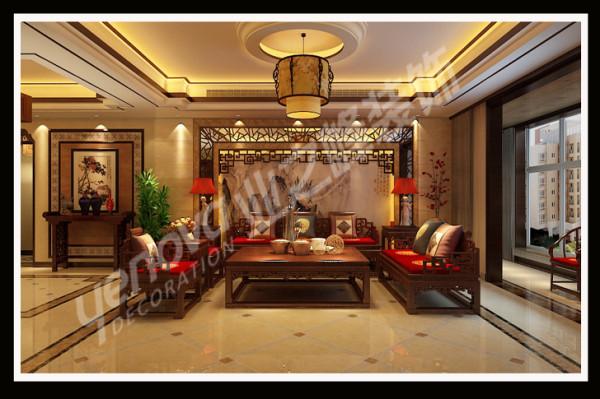 中式风格沙发背景墙,优点通过完美的线条搭配精美的花格,与大气的家具、地拼相结合,带给人无限的舒适与享受。