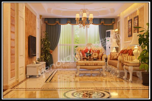 奢华的家具与寓意吉祥如意,招财进宝的地拼与吊顶完美结合,加上绿色植物的配成,彰显着整个空间的最高境界。