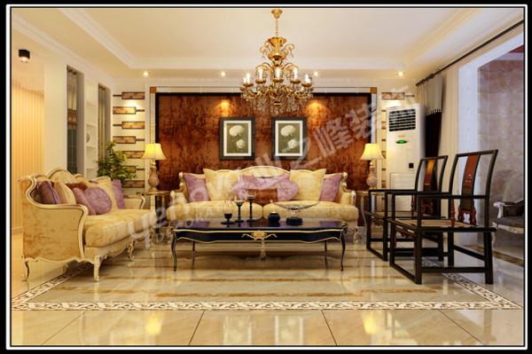 深色壁纸的沙发背景墙,与淡雅色欧式猫脚家具相称,既保留了古典欧式的典雅与豪华,又更适应现代生活的休闲与舒适。