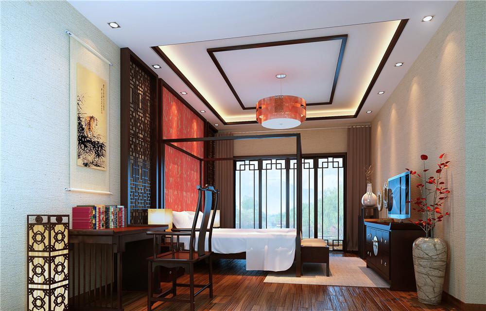 别墅 80后 混搭 卧室图片来自长沙金煌装饰在神秘优雅现代中式别墅设计的分享