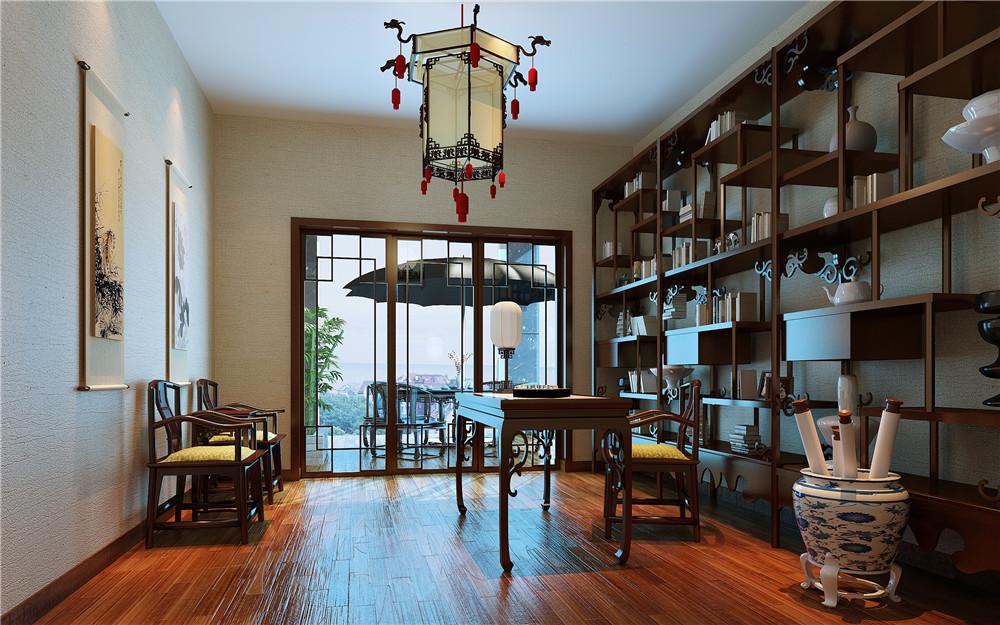 别墅 80后 混搭 书房图片来自长沙金煌装饰在神秘优雅现代中式别墅设计的分享