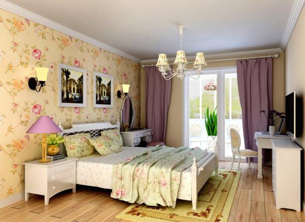 充满幻觉的卧室设计理念:主卧作为业主的私密休息空间,已不需要过多的装饰,大面积的麦黄色搭配床头的灰绿色,地面的仿古地砖点缀角花的铺装,给宁静的卧室带来的欢快的色彩。