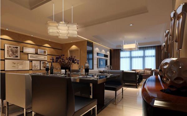 餐厅客厅相互呼应,流转的线条,明快的地面,相得益彰。