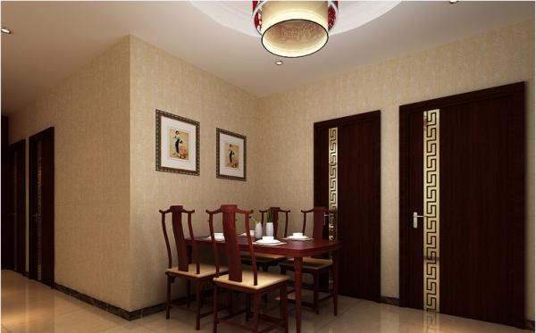 餐厅装饰另有一番风味。 简单装饰画, 圆形的凸凹吊顶,简约宁静 .