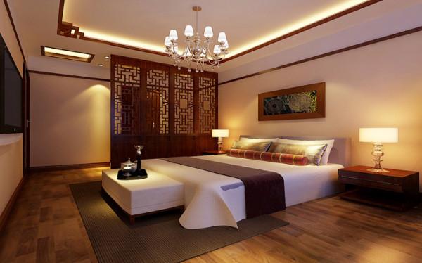 中国化风靡全球的现今时代,中式元素与现代材质的巧妙兼柔, 明清家具、窗棂、布艺床品相互辉映,再现了移步变景的精妙而卧室简约中式木线及精致屏风的造型,突显主人对生活的要求和对生。