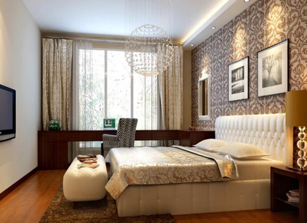 这间卧室为业主居住的房间。整体书柜和床头柜结合简单大气。 亮点:简单的吊顶和红色地板强烈对比,以及简约时尚的双人床,表现一种简约明亮的视觉感受。