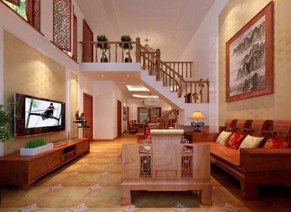 新中式的客厅设计理念:中式风格的韵味与现代风格的陈设,二者间的色彩加以表现与融合。 亮点:由于客厅二层阁楼次卧室采光和通风,客厅与阁楼相结合,在电视墙上方装饰了两扇窗户,让挑高的电视墙整体性理强。