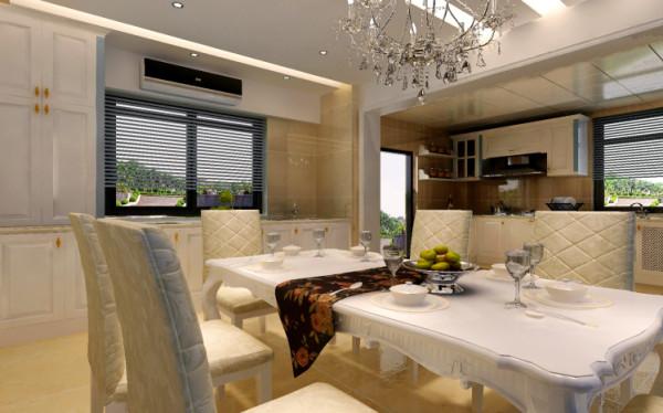 餐厅:厨房、橱柜、工作台都是清一色的方正线条,咋一眼看就想一个个白色的盒子依附在墙身、地面,伴以橱柜后的浅黄色墙身,令这些盒子停留与空间之中,线条简约,减弱空间的体量感。