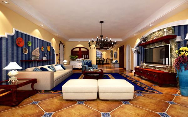 客厅的区域以简单大方的吊顶,以及黄色蓝色的色调为主勾勒出地中海独特的美学色彩,在此基础上增加了一抹褐色,是整个风格更加稳重,大气。