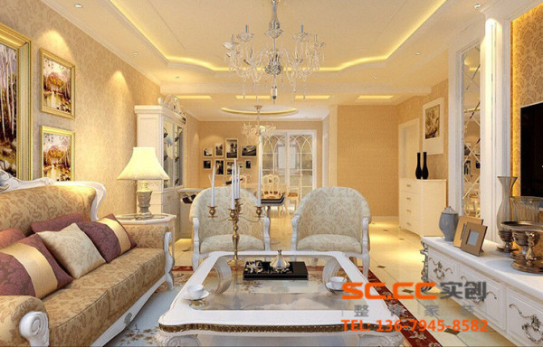 客厅的淡黄色发出的是淡雅清新的简欧的味道。少了富丽堂皇的装饰和浓烈的色彩,呈现的则是一片清新,典雅和大气并存的轻松空间。顶面地面以及整个空间的呼应.