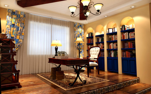 书房:顶面实木与石膏板相结合,窝在墙里的书架成为整个书房的重点。书房地台的设计也给整个空间增加了亮点,以及台阶侧面的拼花点缀。看起来赏心悦目。