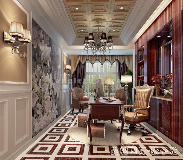 【书房】与整体空间现代风格不同,书房设计传统中式韵味浓郁,紫檀木定制书柜古朴有内涵,和现代时尚的墙面背景形成鲜明对比,古老和现代在这里碰撞。