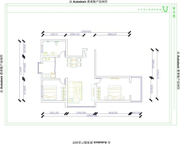 本案例根据户型图,可看出房子的大体结构,对房子有了初步的了解,以及和户主的沟通。确定装修风格,制定方案!